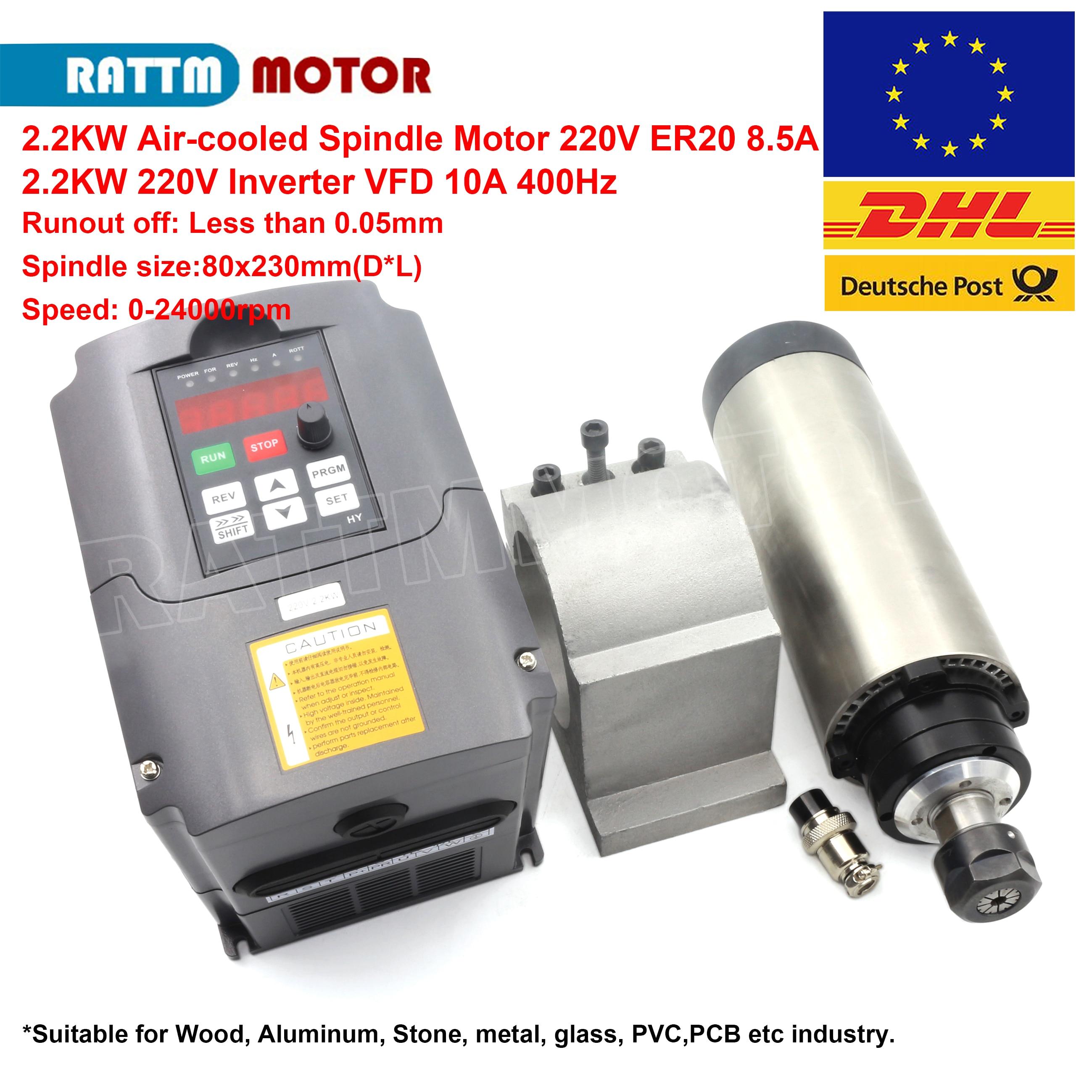 2.2KW ER20 Spindle Motor Water-Cooled 220V 380V D80mm Runout 0.01mm for Router