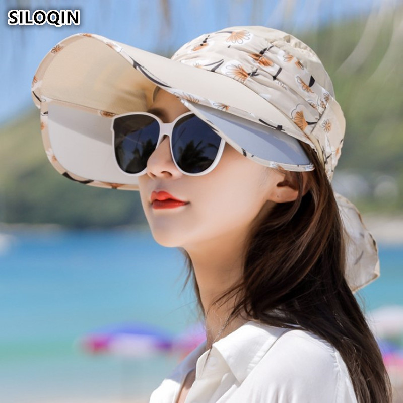 SILOQIN 2019 New Detachable Cap Women's Sun Hat Retractable Visor Sunscreen Anti-UV Empty Top Hat Fashion Beach Hats For Women