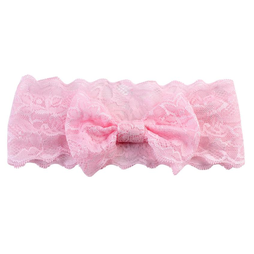 2018 New Fashion Girls Lace Big Bow Hair Band Baby Head Wrap Band Accesso  party baby hair accessories bezel baby headband