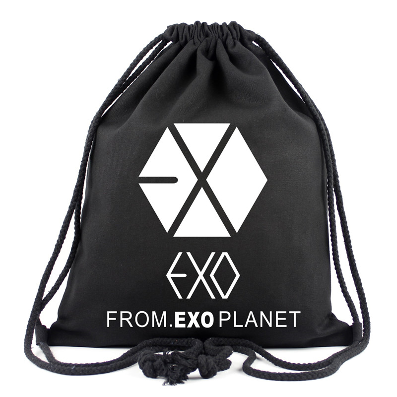 Korean New Fashion EXO KPOP School Bags For Women Black Canvas Drawstring Bags EXO Travel Bag School Backpacks Children Gifts tangimp drawstring backpacks embroidery dear my universe cherry rocket printing canvas softback man women harajuku bags 2018