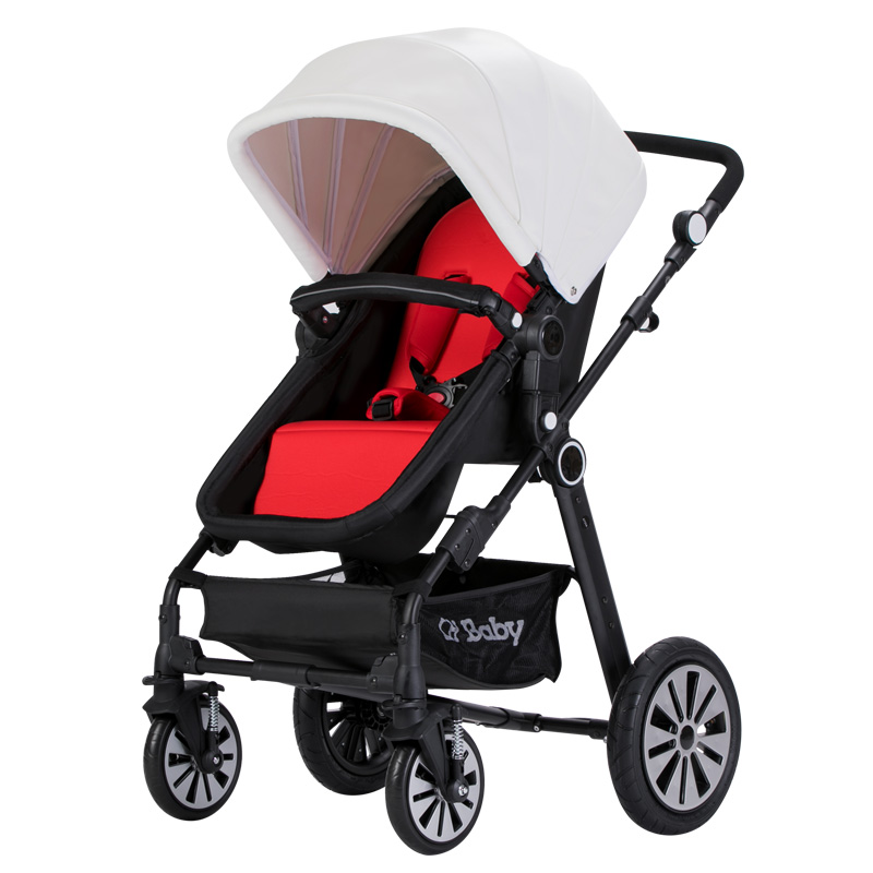 CH baby high landscape baby stroller, folded baby pram with rubber wheel, good shock proof baby carriage with foot cover