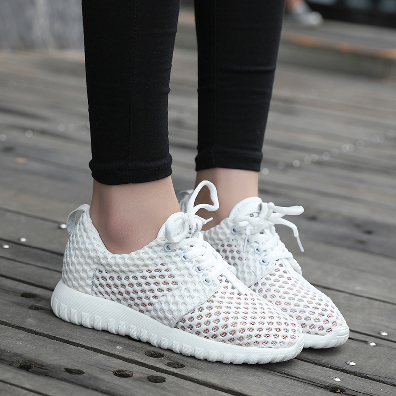 ФОТО 2017 New Women Casual Shoes For Summer Walking Shoes Woman Lace Up Breathable Mesh Shoes For Women Light Flats