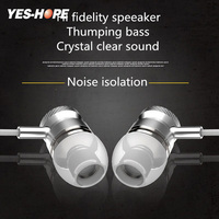 YES-HOPE Wired Headset 3.5mm Jack Noise Reduction In-ear Earphone With Mic 1.2m Cable Volume Control For Android E-304