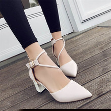 2018 new sexy comfortable wild thick with single shoes pointed straps high heels shallow mouth fashion