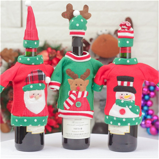 Christmas Decoration Red Wine Bottle Cover 2018 New Year Gifts Xmas Party Products  For Home Decor Supplies