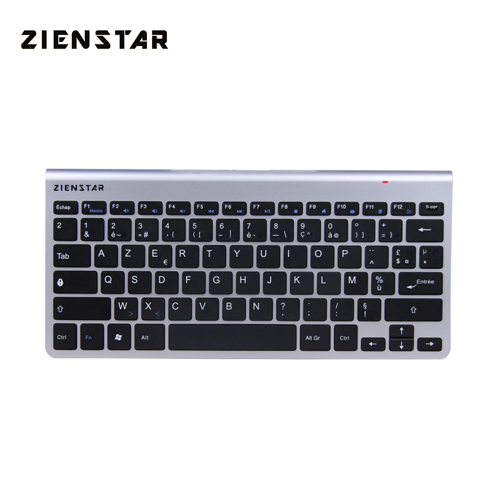 Zienstar AZERTY Frans brief slank 2.4G draadloos toetsenbord voor MACBOOK, LAPTOP, TV-box Computer PC en Smart TV met USB-ontvanger
