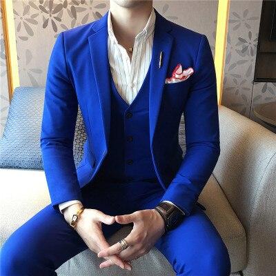 3 pièces hommes costumes de mariage costumes pour hommes robe noir Terno Masculino Slim Fit dernière conception smoking bleu Royal Costume Homme 2019