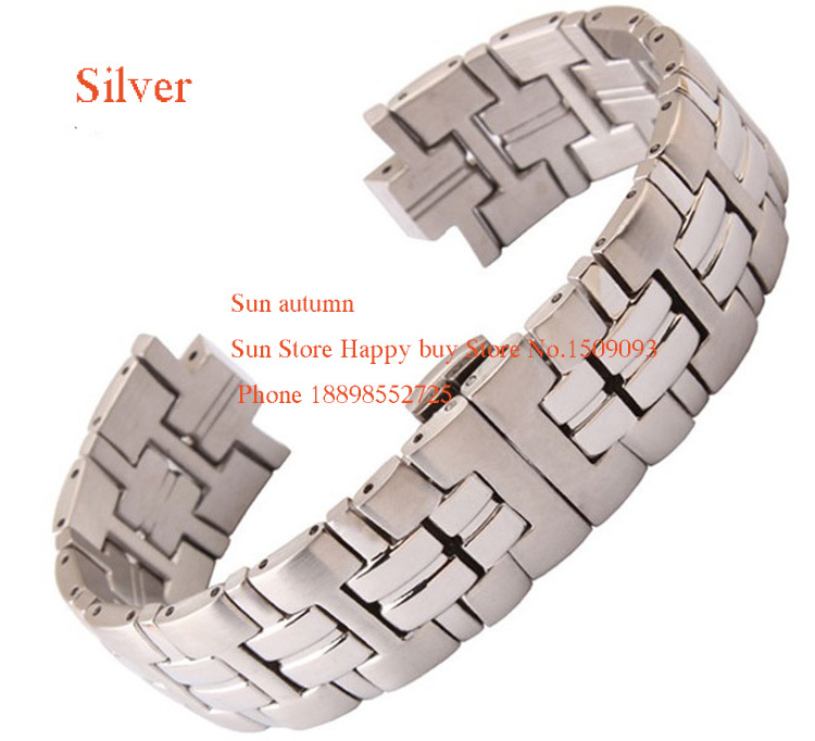 Convex Mouth Watchband Bracelet 20mm(lug 9mm) Stainless Clasp Deployment Silver  steel for brand men watches luxury Accessories watch straps with silver black deployment clasp watchband genuine leather bracelet for men women watches 20mm 21mm 22mm hot sell