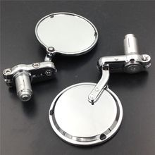 """22mm 7/8"""" Chrome Round Motorcycle Rearview Side Mirror with Handle Bar End For Victory Hyosung Kawasaki Buell Honda"""