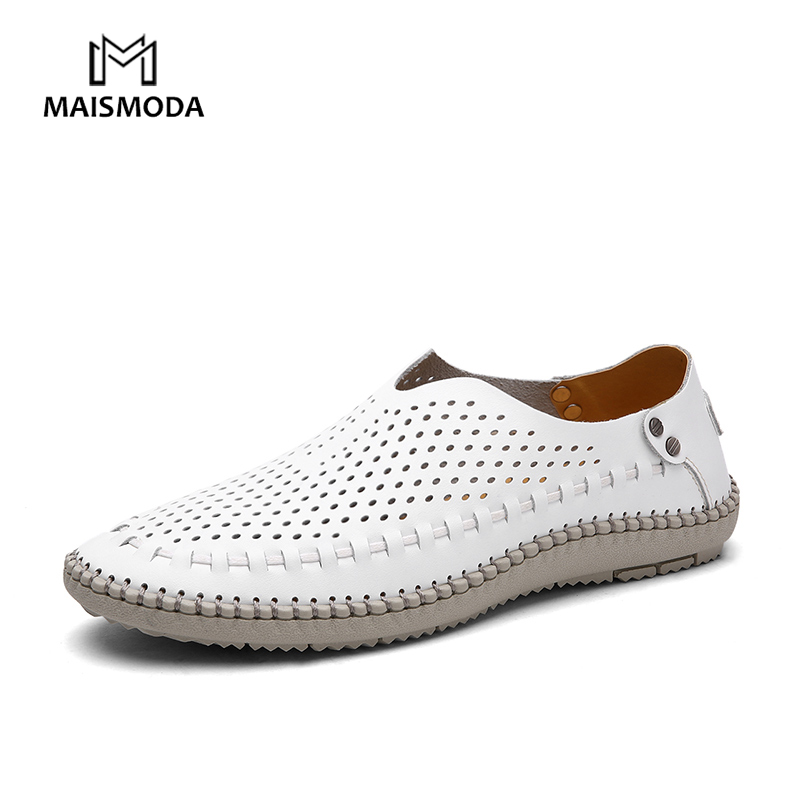MAISMODA New Men Casual Shoes Genuine Leathers Cowhide Loafers Size 38-46 Outdoor Moccasins Shoes Hollow Breathable YL446