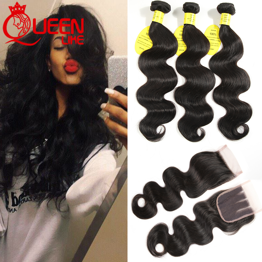 Rosa Hair Products Brazilian Virgin Hair With Closure Human Hair Bundles With Closure 3 Bundles Brazilian Body Wave With Closure
