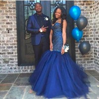 Navy Blue Rhinestone Beaded Mermaid Prom Dresses Sexy Sweetheart Backless Evening Gowns Fashion Pearls Tulle Gown