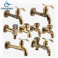 Luxury Antique Brass Decorative Outdoor Faucet Garden Bibcock Tap Bathroom Washing Machine Mop Faucet
