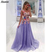 Xnxee Elegant Long Dress Women Evening Summer Dress Party Sexy V neck Floral Pink Maxi Dress Plus Size Women Clothing S 4XL