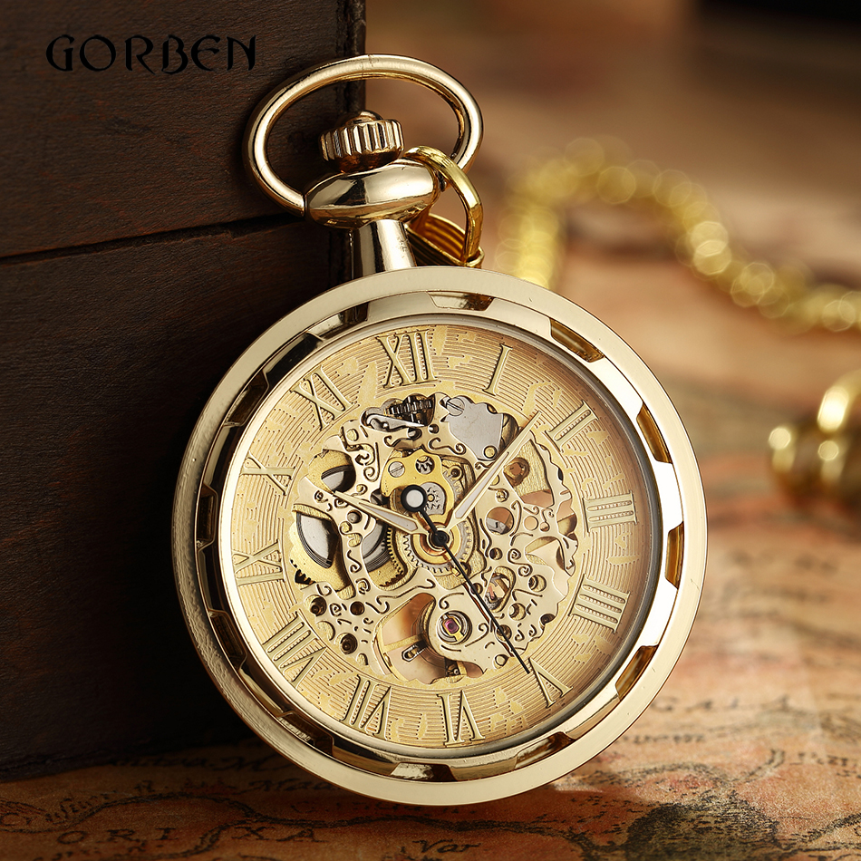 Luxury Antique Skeleton Mechanical Pocket Watch Men Steampunk Mechanical Fob Watches Clock Pendant Hand-winding Relogio De Bolso
