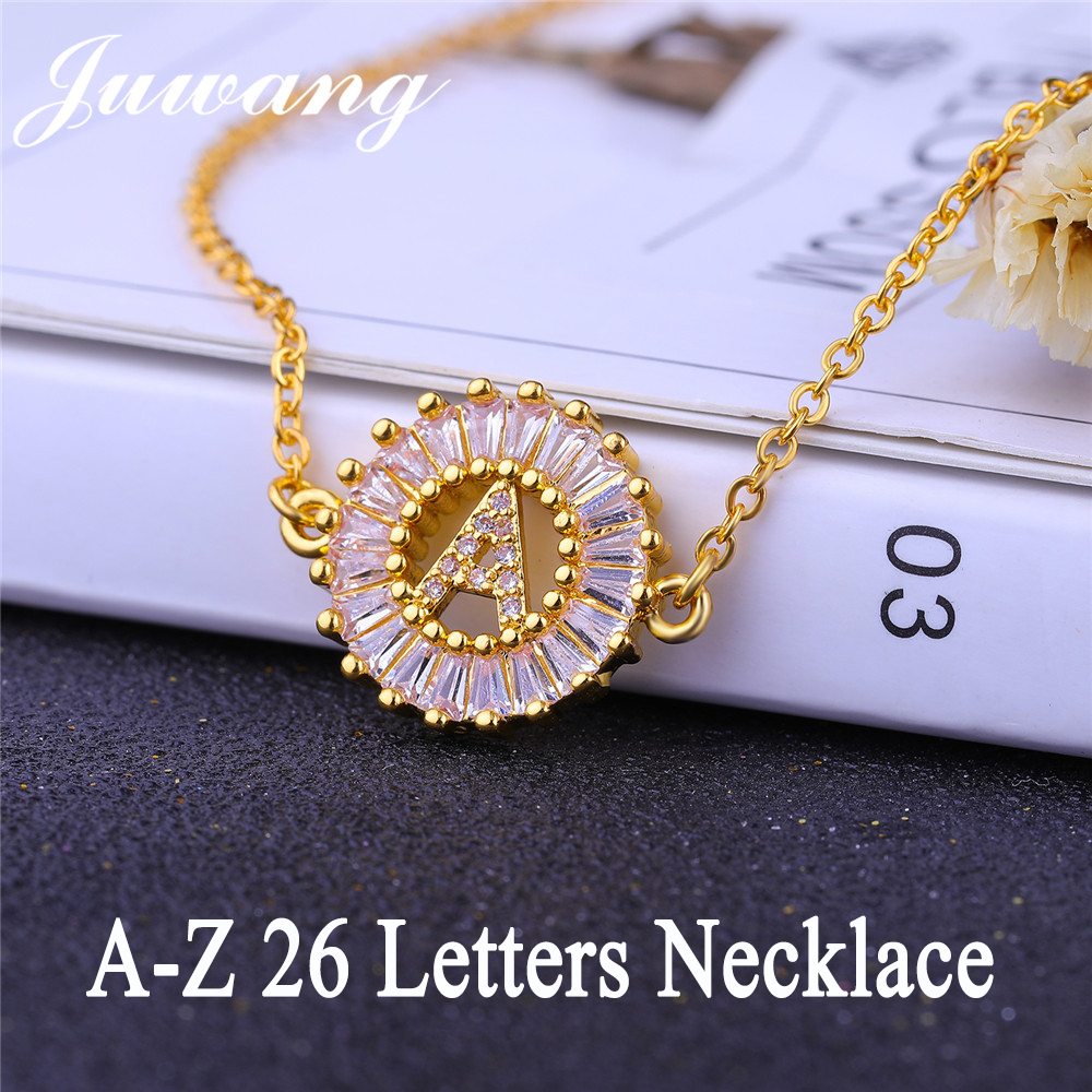 JUWANG A-Z Initial Letter Pendant Charm Cubic Zirconia Necklace for Woman Gold Silver Color Capital Letter Chain Necklace Gift