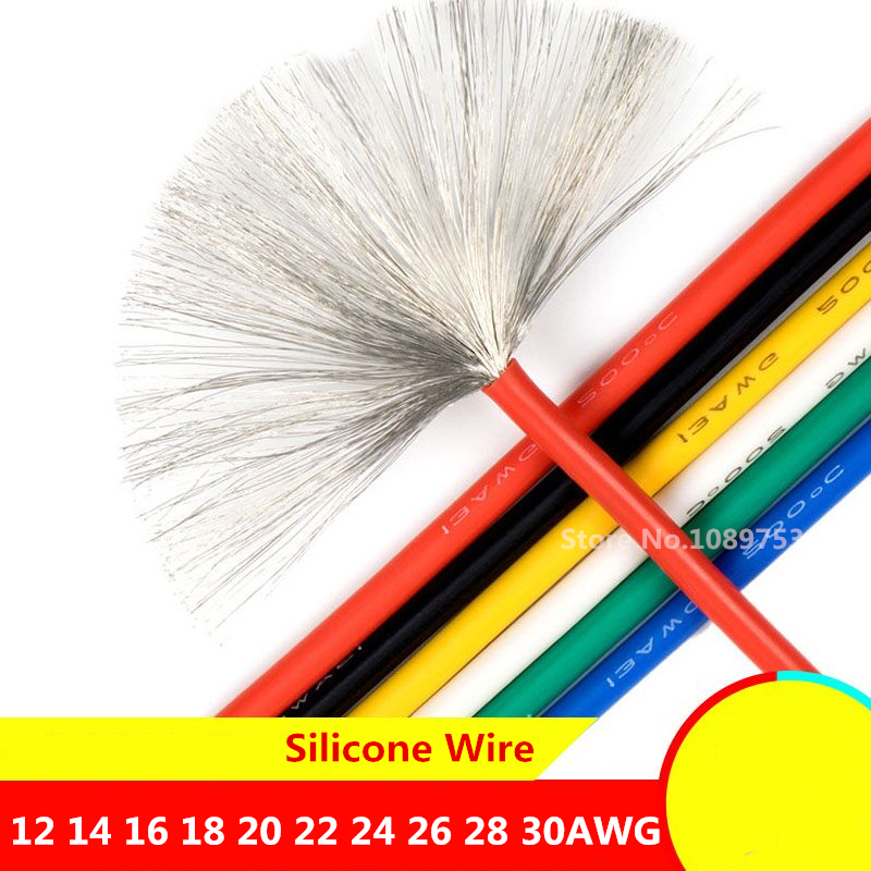 1 Meter Silicon Wire 12AWG 14AWG 16AWG 18AWG 22AWG 24AWG 26AWG 28AWG 30AWG Heatproof Soft Silicone Wire Cable Test Line 5 Color in Wires Cables from Lights Lighting