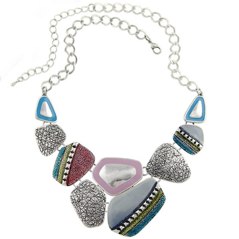 Fashion Women Ethnic Vintage Antique Silver Plated Colorful Enameling Geometric font b Pendants b font Statement