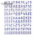 3d Nail Art Sticker Decal, 1 hoja Azul Flores Diseño Adhesiva Metálica Extremidad Del Clavo de la Decoración DIY de Manicura Belleza Del Clavo Materiales de arte