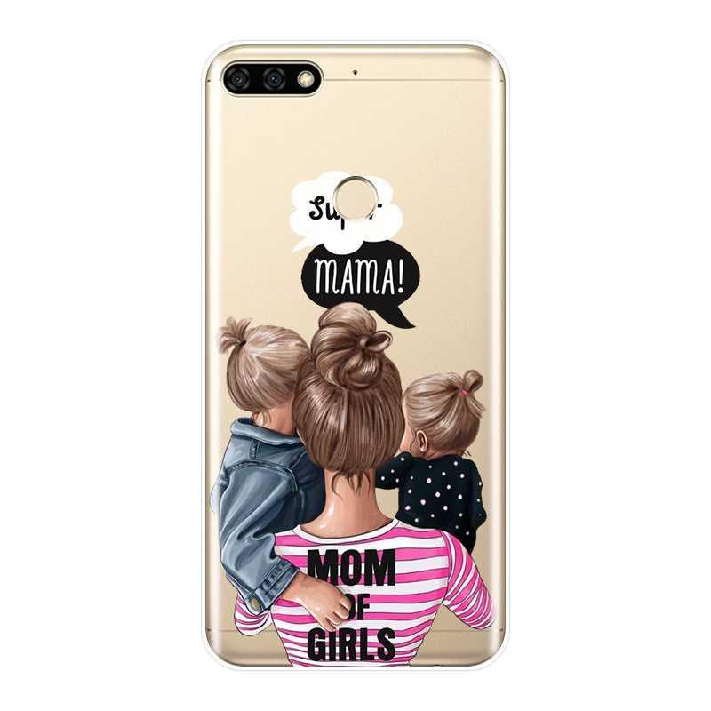 Hitam Gadis Bayi Wanita Ibu untuk Huawei Honor 8X Max 7 S 7X 7A 7C Pro Silikon Lembut kembali Cover untuk Kehormatan 8 9 10 Lite Case