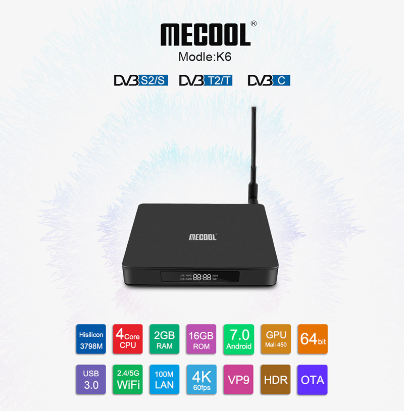 MECOOL K6 DVB S2 - T2 - C Android Smart TV Box 2GB 16GB 2.4G 5G Set Top Box WiFi 100Mbps 4K smart box VP9 smart media Hisilicon(China)