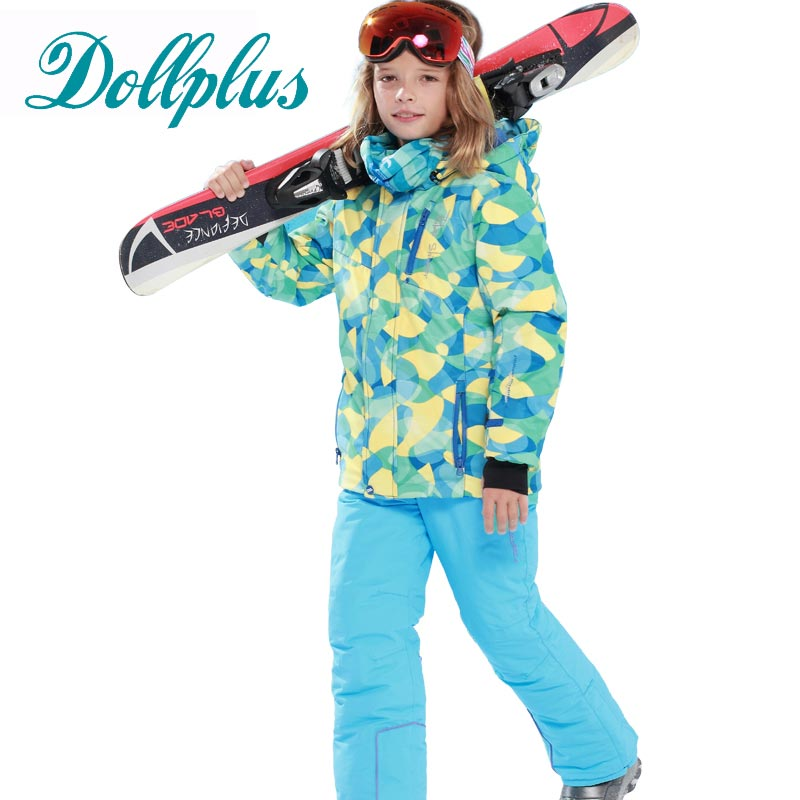 New Russian Winter Children Ski Suit Girls Waterproof Windproof Ski Jackets+Bib Pants 2pcs Boys Ski Set 6-15 Ages russian winter children ski suit windproof outdoor girls ski jackets bib pants 2pcs girls clothing set for 2 7 years