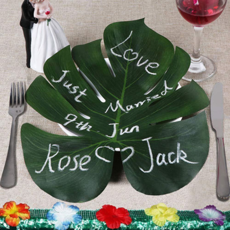 12Pc Green Artificial Tropical Palm Leaves Luau Party Table Decor Backgrounds UK