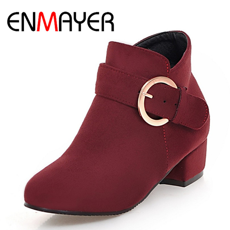 ENMAYER Large Size 34-43 Square Heels Round Toe Ankle Boots for Women Zippers Buckle Spring Autumn& Winter Boots Casual Shoes