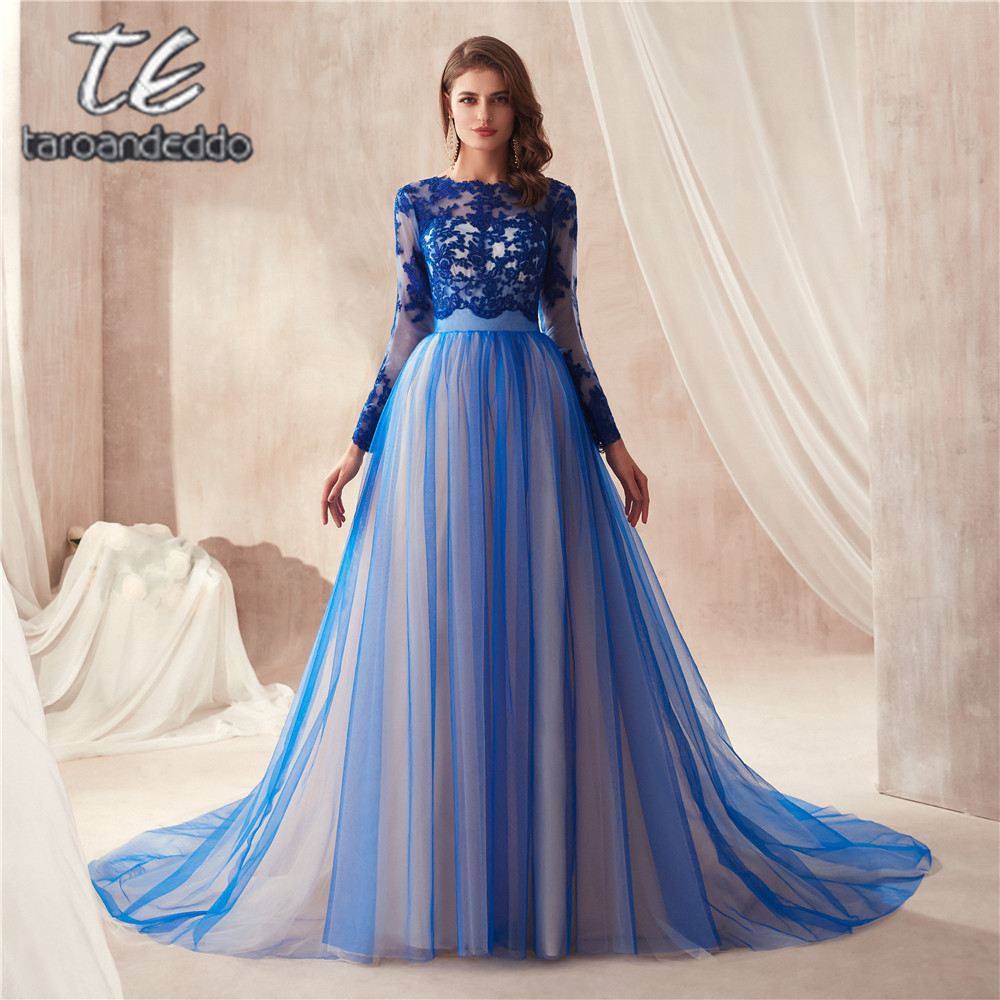 Multi Color Blue   Prom     Dress   Long Sleeves A-line Cutout Open Back Sexy Evening   Dress   with Train Formal Party Gowns