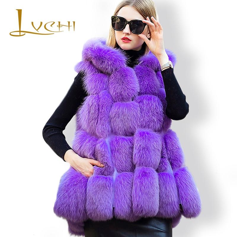 LVCHI мода фиолетовый Мех животных ry Лисий жилет шерсть Шуба Зима 2019 Женская толстый теплый Дамская Шуба два носить пальт