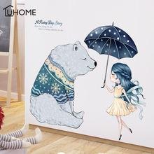 Мультяшные наклейки на стену с изображением дождя и мишки для