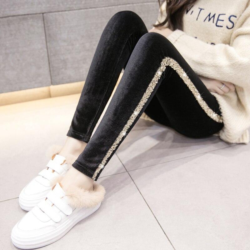Side Sequin Black Trousers Women Spring Winter High Waist Velvet Legging Plus Velvet Inside Girls Student All-match Leggings