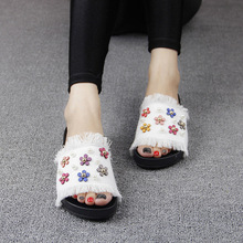 2016 New Korean Female Summer Sandals Casual Slippers Online Denim Daisy Pearl Ladies Comfort Footwear Cheap