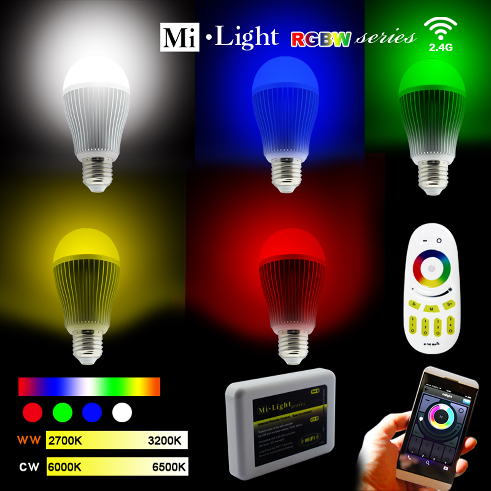 AC85-265V 2.4G E27 9W Color Temperature Adjustable Dual RGB(CW/WW) CCT LED Bulb+4Zone RF Wireless Touch Remote+WiFi Controller ac110v 240v dx62 wall mount 2 4g rf wireless led sync cct color temperature controller dmx512 signal ouput for dual white strip