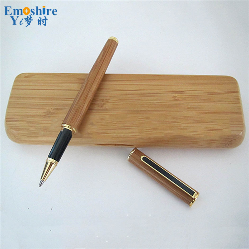 1 pecs Drop Shipping Creative Bamboo Signature Pen Roller Ball Pen With Pencil Box Set Top Brand Stationery for Students P062 jinhao ancient dragon playing pearl roller ball pen with jewelry on top with original box free shipping