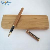 1 pecs Drop Shipping Creative Bamboo Signature Pen Roller Ball Pen With Pencil Box Set Top Brand Stationery for Students P062