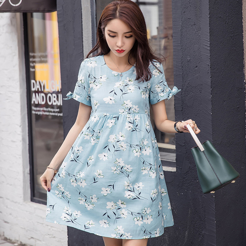 2018 Summer Fashion 100% Cotton Knee Length Maternity Dress Short Sleeve Print Nursing Pregnancy Dress Maternity Daywear Clothes floral print bodycon knee length dress