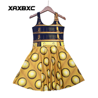 NEW 1196 Sexy Girl Women Summer Doctor Who Golden The Daleks Tardis 3D Digital Prints Reversible