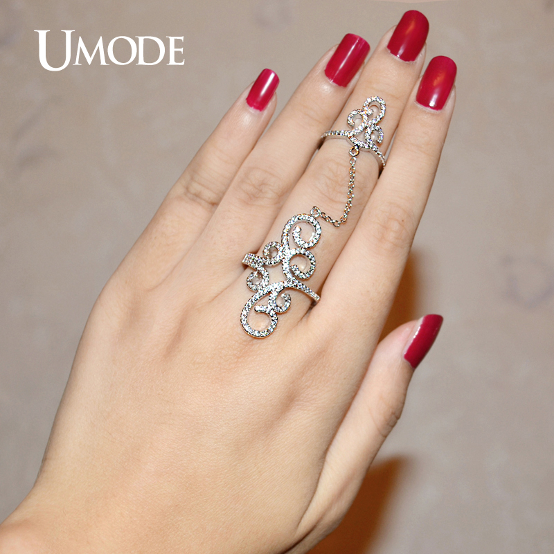 UMODE Vintage Rings Crown Micro CZ White Gold Color Full Finger