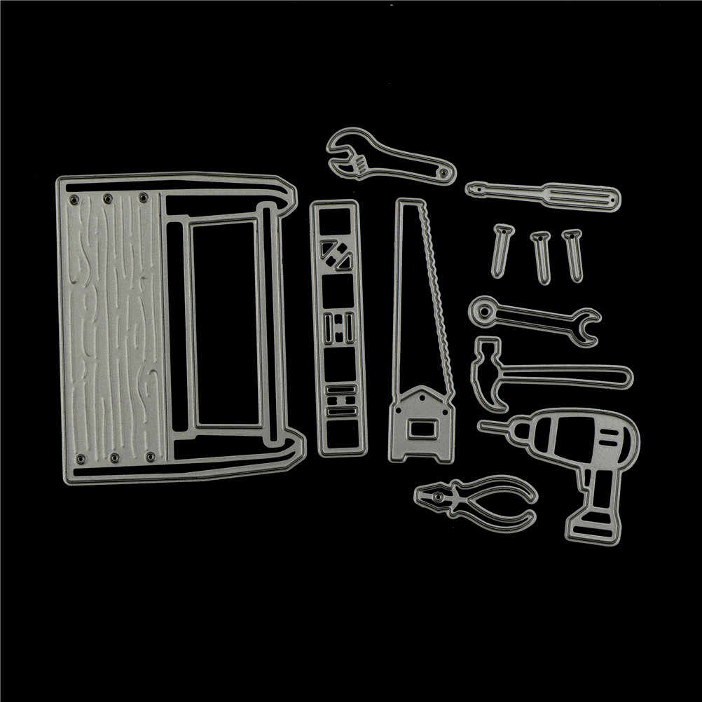12pcs/Set Cool Man   In Tool Box Metal Cutting Dies Stencils For DIY Scrapbooking Photo Album Paper Cards Decorative Craft