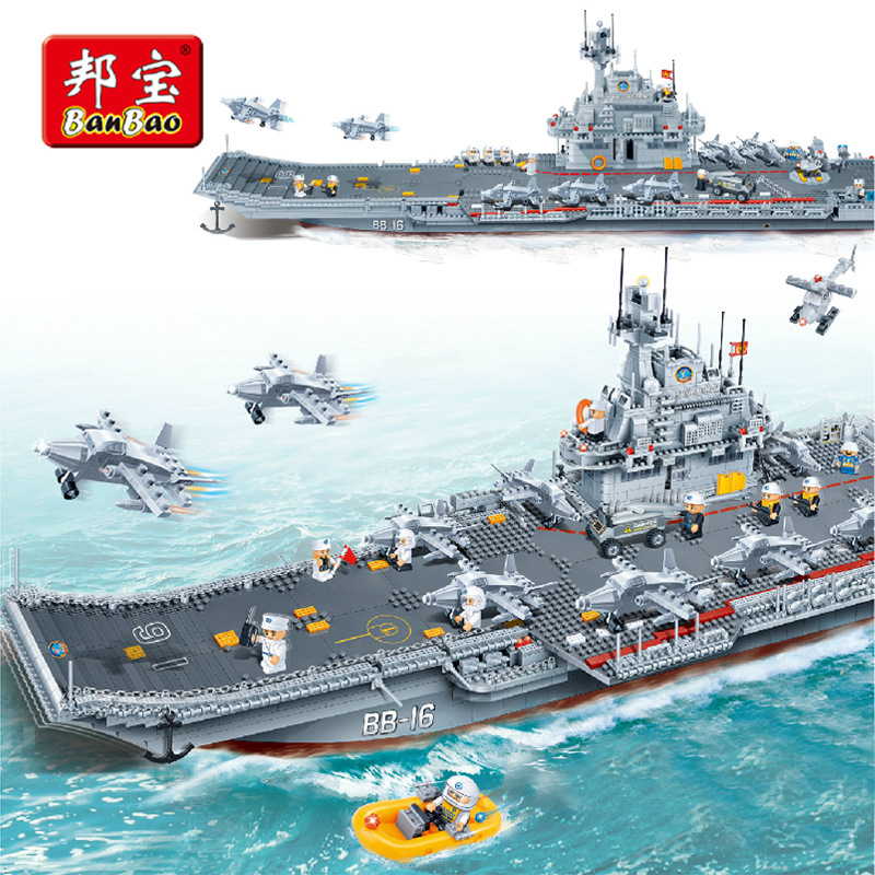 3016PCS banbao Chinese Military Building Block Compatible with legoe Aircraft Carrier Liaoning Construction Educational Toys new avengers season 2 hulk rocky space aircraft carrier breakout super hero minifigures building block compatible with legoe
