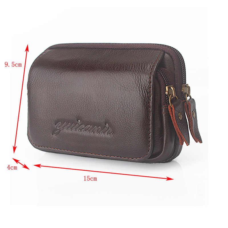 男性本革ヴィンテージ旅行携帯携帯電話ベルトポーチ財布ファニーパックウエストバッグ新
