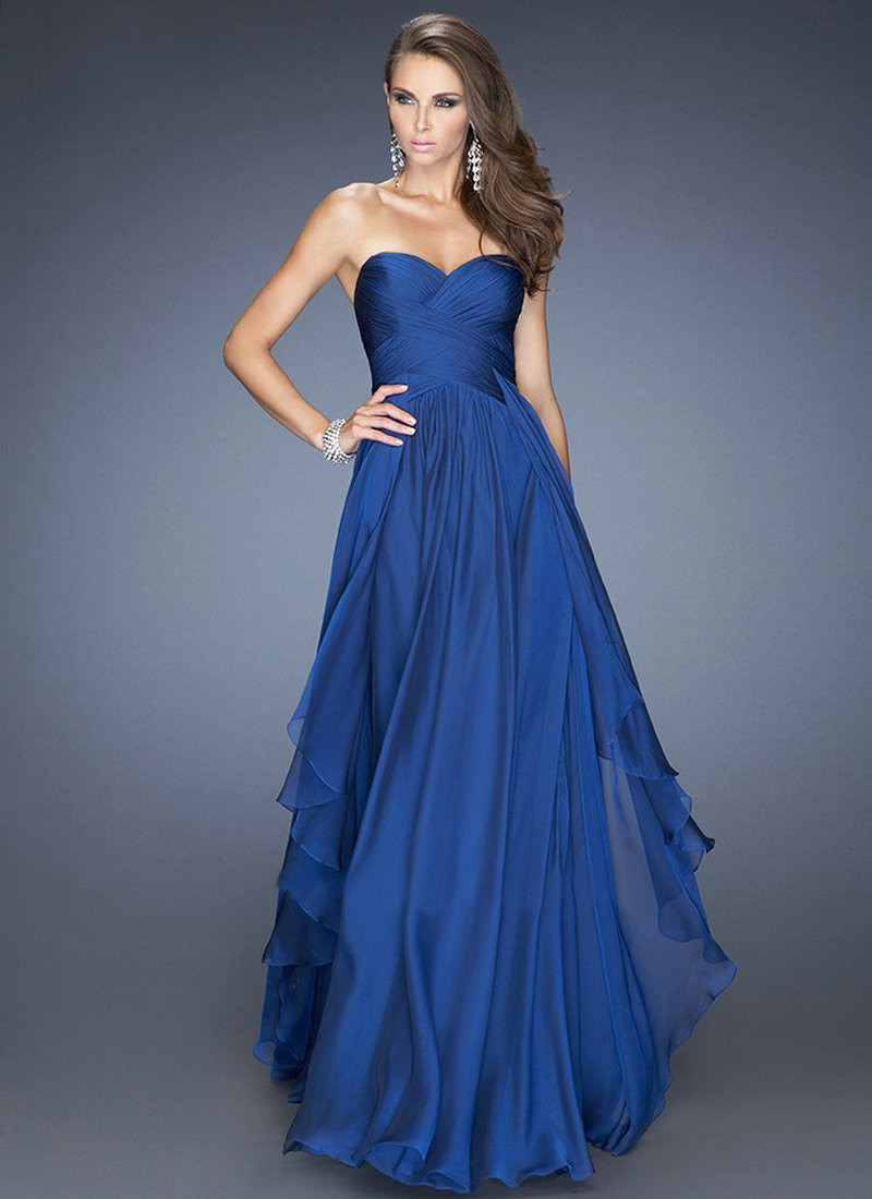 Royal Blue 2017 A line Sweetheart Floor Length Chiffon Backless Long font b Bridesmaid b font