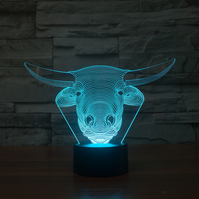 Szvfun LED Nachtlampje Bull Koe Luminaria 3D LED Lamp Touch 7 ...
