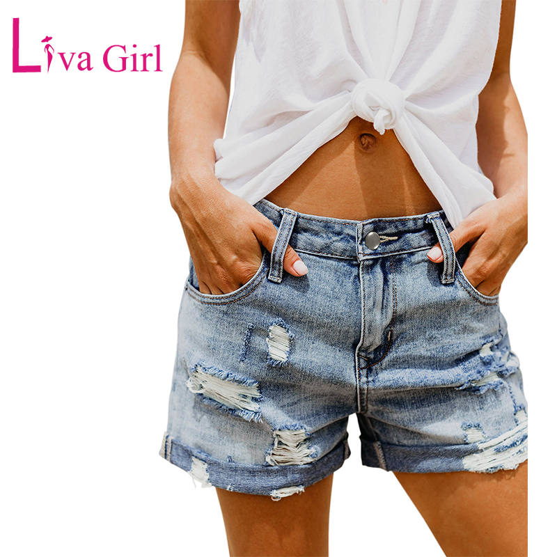 LIVA GIRL Summer Vintage Faded and Distressed Jean Shorts with Pockets 2019 Plus Size Woman Casual Hole Hot Short Denim S-XXL