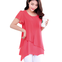 Woman Tops Summer Style Short Sleeve Vintage Chiffon Blouse Feminina Plus Size 2016 Korean Fashion Clothing