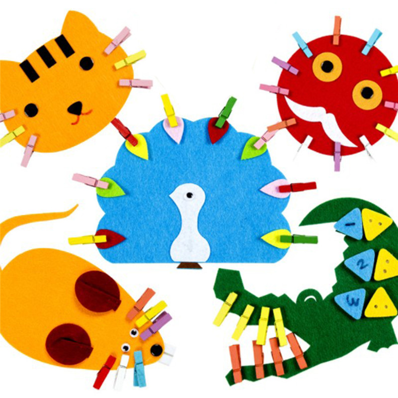 New 2020 DIY Non-woven Felt Fabric Cartoon Animal Clip Art Preschool Kindergarten Teaching Materials Educational Toys