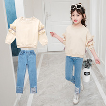 Children Girl Clothes Kid Autumn Solid Sweatshirt and Jeans Blue Pants Teen Girls Clothing Set Korean Cotton Kids 4-14T