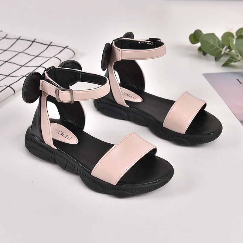 2019 Kids Girls Summer Shoe Little Girls Sandals Leather Big Children BOW Princess Beach Sandals 3 4 5 6 7 8 9 10 11 12 Year Old
