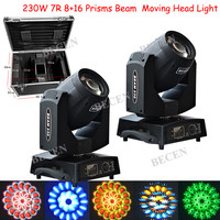 2pcs bi 8+16Prism 230W 7R Beam Moving Head Lights with fly case NO TAX from CZ Warehouse